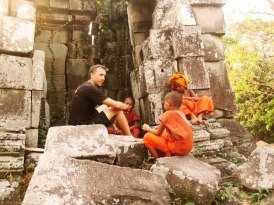 Chatting with Kid Monks at Remote Temple