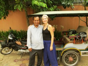 Our Lovely Guest with our Lotus Lodge Tuk Tuk Driver