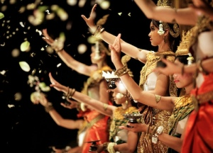 Dancers perform an Apsara Dance for tourists at a restaurant in Siem Reap