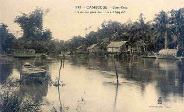 Siem Reap village and river near the ruins of Angkor, postcard c.1910