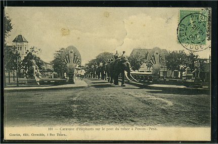 Phnom Penh- Elephants caravan on the treasure bridge.
