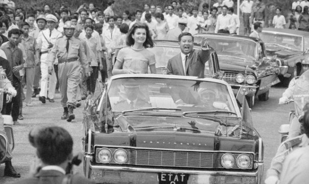 Jackie Kennedy and Norodom Sihanouk in Motorcade in Cambodi