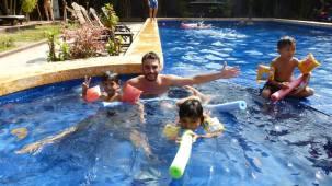 Swimming at the Lotus Lodge in Siem Reap